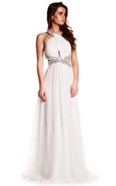 Sleeveless Beaded Halter Chiffon Prom Dress With Brush Train