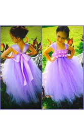 Cap Sleeve Flower Bodice Empire Tiered Tulle Ball Gown With Jewel