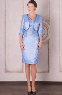 Pencil Knee-Length V-Neck Half Sleeve Appliqued Satin Mother Of The Bride Dress