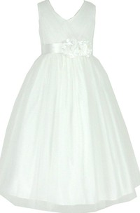 Sleeveless V-neck A-line Dress With Pleats and Bow