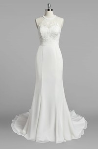 Jewel Neck Mermaid Chiffon Wedding Dress With Lace Bodice