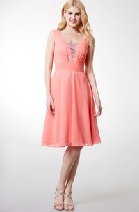 Glittering Scoop Neck Knee Length Chiffon Dress With Beaded Detailing