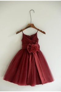 Criss-cross Bodice Spaghetti Straps Pleated A-line Tulle Long Dress With Flower