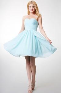 Dainty Bodice-ruched Layered A-line Chiffon Dress