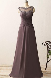 Cap-sleeved A-line Gown with Appliques and Criss-cross Ruching