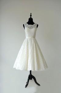 Sleeveless A-Line Tea Length Lace Dress With Low-V Back and Satin Sash