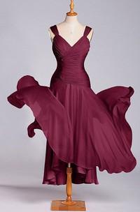 Modern V-neck A-line Ruched Chiffon Dress