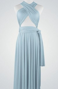 Criss-cross Bandage Top Pleated Chiffon Knee Length Dress With Sash