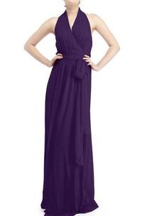 Halter Wrap Floor-length Chiffon Bridesmaid Dresses