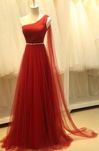 One-shoulder A-lien Beading Long Tulle Dress