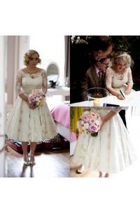 Plus Size Lace Scoop Illusion Half Long Sleeve Tea Length Wedding Dress