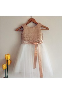 Sequined Bodice A-line Tulle Knee Length Dress With Satin Sash