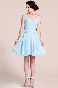 V-neck A-line Short Dress With Bow Tie