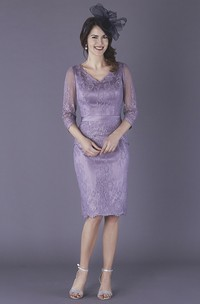 Satin 3/4 Illusion Sleeve Knee Length Pencil Mother Of The Bride Dress