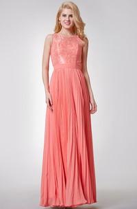 Sleeveless A-line Long Pleated Chiffon Dress With Key-hole