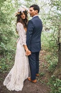 V-neck Illusion 3 4 Length Sleeve Brush Train Lace A-Line Sheath Wedding Dress