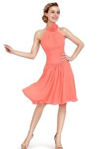Halter Knee-length Chiffon Dress With Flower