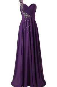 One-shoulder Sweetheart Chiffon Dress With Beadings