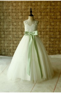 Lace Illusion Neckline Pleated Tulle Ball Gown With Keyhole and Bows