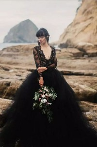 V-neck Illusion Long Sleeve Ankle-length Lace Tulle A-Line Ball Gown Wedding Dress