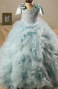 Ball Gown Scoop-Neck Sash Bow Beading Ruffled Flower Girl Dress