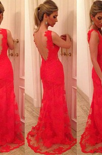 Mermaid V-neck Applique Sleeveless Lace Backless Floor-length Dress