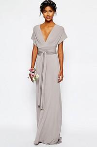 Sheath V-Neck Sash Floor-Length Short-Sleeve Jersey Bridesmaid Dress