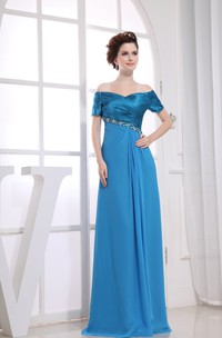 Refined Floor-Length Dress With Ruching and Beading