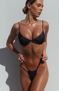 Plain Push Up Spaghetti Thong Bikini Set