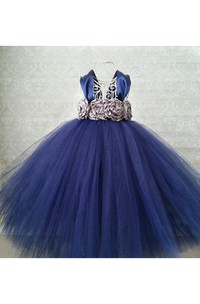 V Neck Cap Sleeve Tulle Ball Gown With Waist Flowers and Pleats