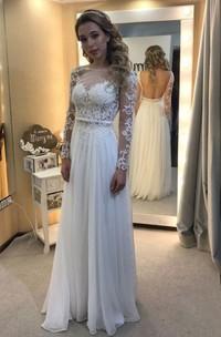 A-line Bateau Floor-length Long Sleeves Lace Chiffon Wedding Dresses