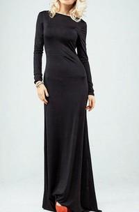 Bateau Long Sleeve Sheath Jersey Long Dress With Dropped Open Back