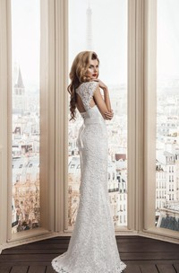 Sheath Strapped Lace Satin Weddig Dress With Lace-Up Back
