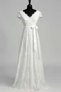 A Line Garden Cap Short Sleeve Wedding Dress