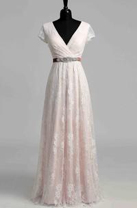 A Line Beach Cap Short Sleeve Wedding Dress