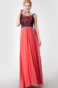 Sleeveless A-line Long Chiffon Dress With Lace Bodice