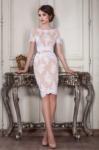 Sheath Knee-Length Jewel Short Sleeve Lace Appliques Zipper Dress