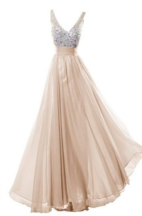 Sleeveless V-neck Long Dress With Rhinestone Bodice