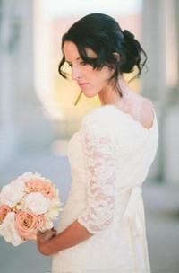 Romantic Beach 3/4 Sleeve Jewel Modest White Bohemian Lace Wedding Dress