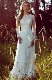 Sheath Long-Sleeve Jewel-Neck Chiffon Wedding Dress With Illusion