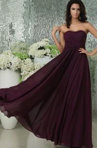 Floor-Length Sweetheart Chiffon Dress With Pleating