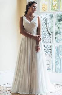 A-Line Floor-Length V-Neck Sleeveless Chiffon Court Train Ruching Dress