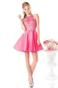 A-Line Floor-Length Jewel-Neck Sleeveless Satin Keyhole Dress With Beading