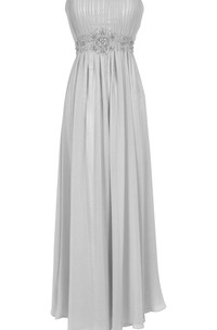 Strapless Long Chiffon Dress With Beaded Waist