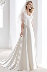 V-Neck Draping Satin Wedding Dress With Pleated Bodice And Brush Train