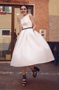 Sleeveless Tea-length Vintage Satin Wedding Dress With Keyhole Back And Ruching Details