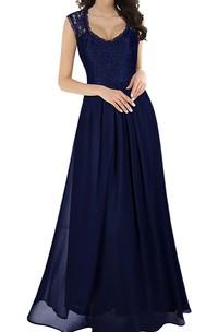 Casual Lace Chiffon Scalloped Sleeveless A Line Guest Dress With Ruffles