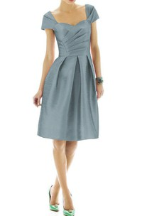 Queen Anne A-line Satin Dress with Pleats