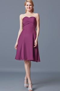 Fabulous Sweetheart Empire Waist Ruched Knee-length Chiffon Dress