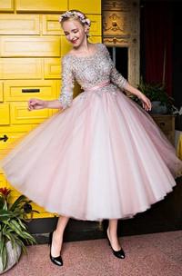 3-4 Lace Sleeve Scoop Neck Tea Length Tulle Dress